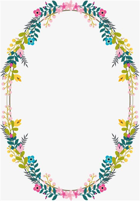 Wedding Border Vector Png by Oval Flower Rattan Border Vector Png
