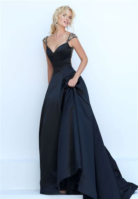 beaded cap sleeve gown indigo satin sweetheart beaded back and cap sleeve