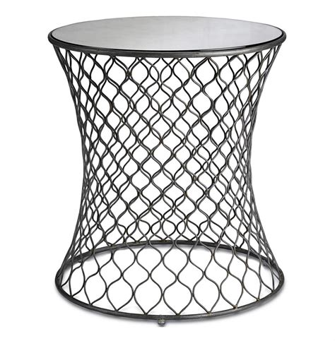 Wire Side Table Cuff Modern Wire Frame Lattice Accent Mirrored Side Table Kathy Kuo Home