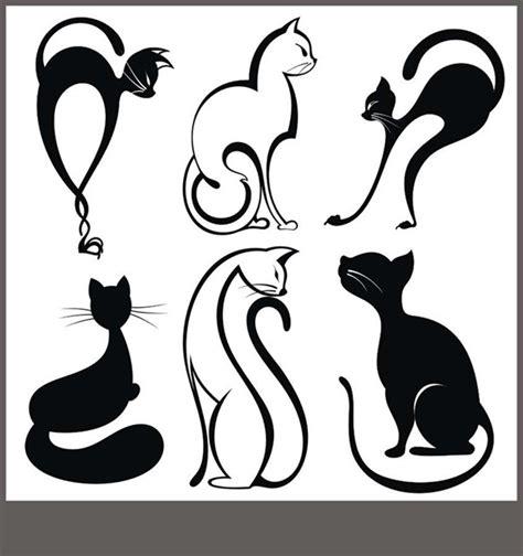 时尚线性猫咪矢量图片 矢量人物与卡通 矢量素材 素彩网