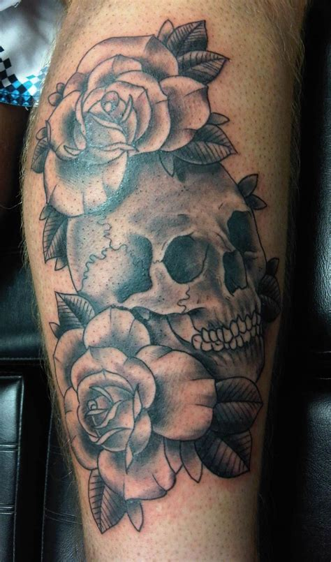 tattoo of skulls skull roses black white tats