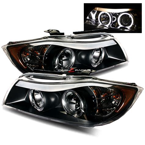 bmw e90 headlights 05 08 bmw e90 sedan halo projector headlights black