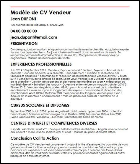 Modele Type De Cv by Modele De Cv Modele De Cv Vendeur Moncvparfait