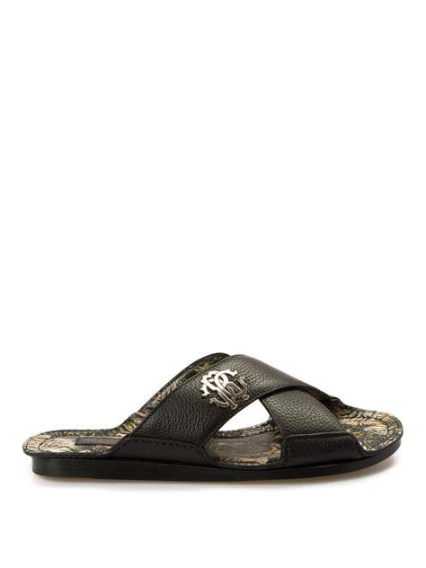 Roberto Cavalli 51130 Leather Semprem criss cross leather slippers by roberto cavalli sandals ikrix