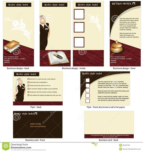 brochure templates to match vistaprint business cards hotel retro template design stock photo image 32722740