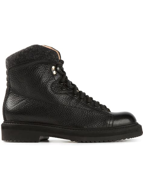 black hiking boots for lyst santoni hiking boots in black