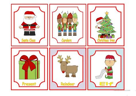 printable christmas flash cards christmas flashcards worksheet free esl printable