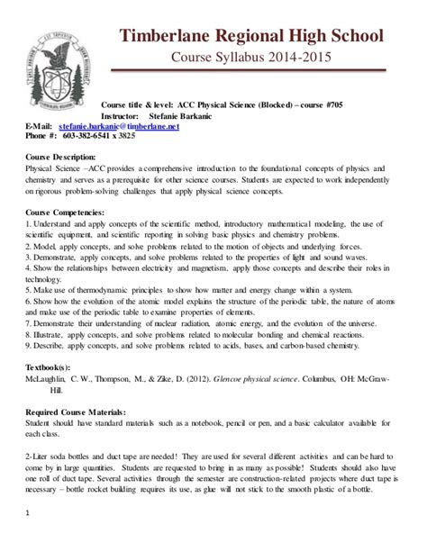 Science 14 Course Outline by Trhs 14 15 Acc Physical Science Syllabus