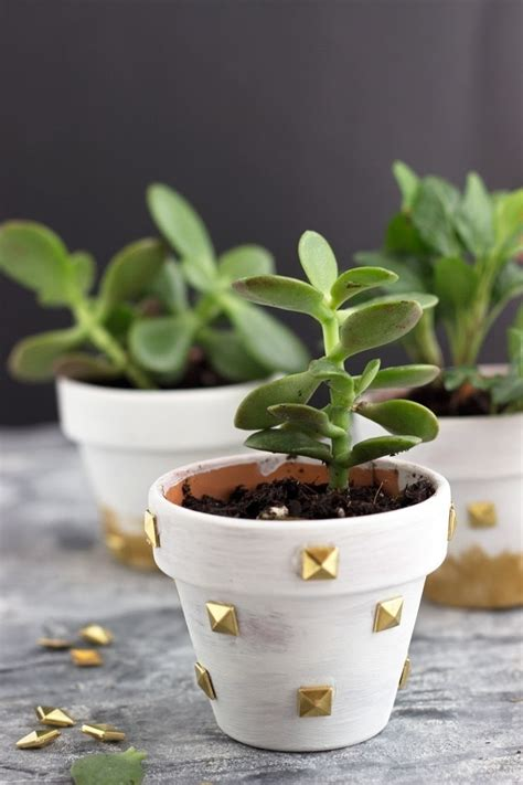 diy studded mini planters     pot planter
