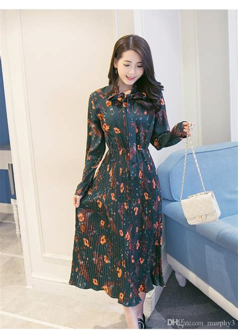 in the of 2017 new s korean floral chiffon dress pleated skirt dress with