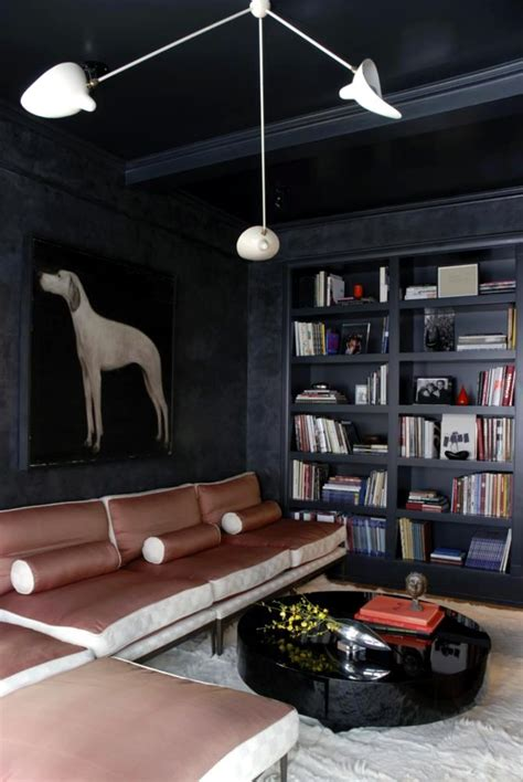walls  charcoal portrait   hunting dog  modern living room interior design ideas