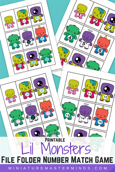 printable numbers matching game printable lil monsters file folder number match game