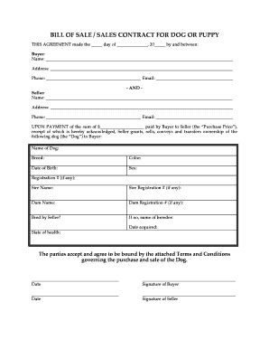 puppy contract puppy agreement form fill printable fillable blank pdffiller