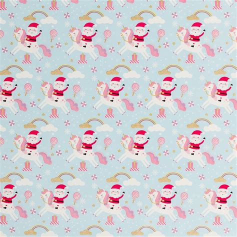 christmas cute wrapping paper  unicorns xmas bm