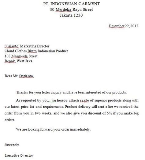 deay project inquiry letter of business