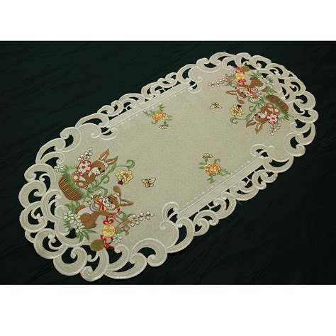 easter table runner doily tablecloth linen look beige