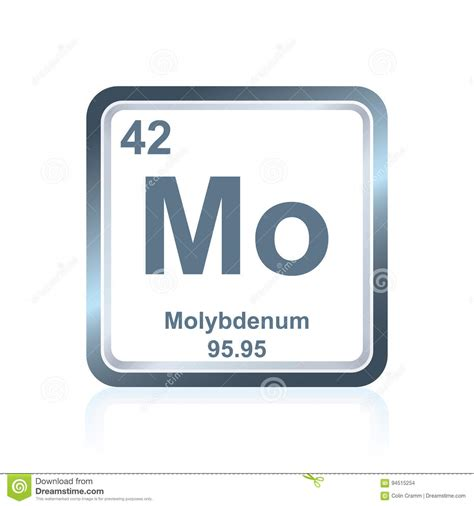 chemical element molybdenum from the periodic table stock