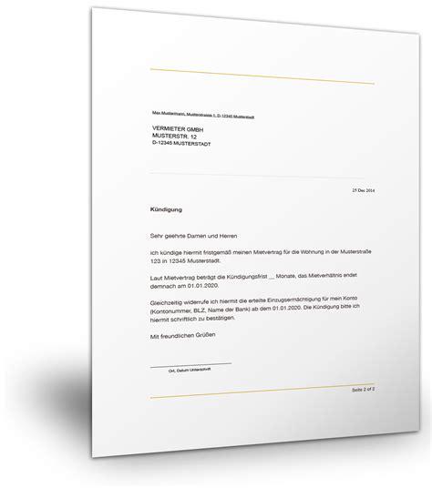 Muster Ordentliche Kündigung Mietvertrag Vermieter K 252 Ndigung Mietvertrag Der Mustermann