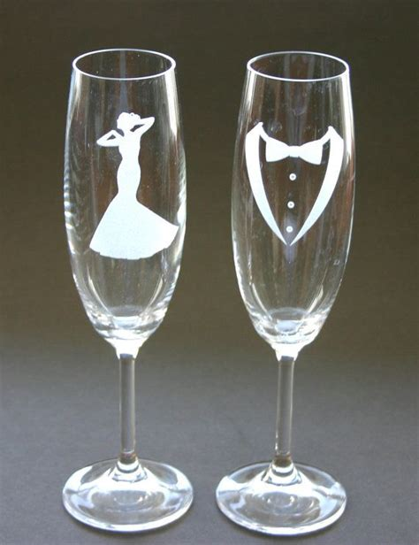 Etched Bride and Groom Wedding Bells Champagne Flutes