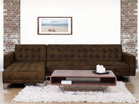 sofa mit einer lehne corner sleeper sofa upholstered aberdeen brown