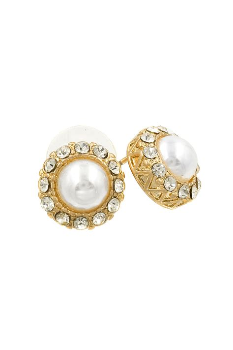 Rhinestone Pearl Earring rhinestone embedded pearl earrings