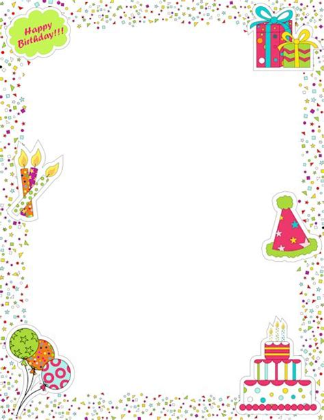 Printable Page Border Featuring Birthday Graphics Like Free Printable Birthday Borders And Frames