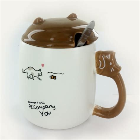 Cat Mug 1 cat mug lid spoon brown