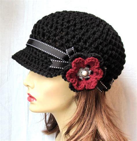 hat womens hat black newsboy burgundy cancer hat