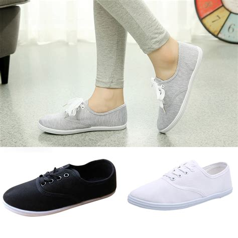 tennis shoe flats womens canvas shoes lace up casual sneakers flats