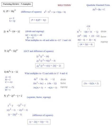 Algebra 2 Factoring Review Worksheet Answers by Factoring Review Worksheet Lesupercoin Printables Worksheets