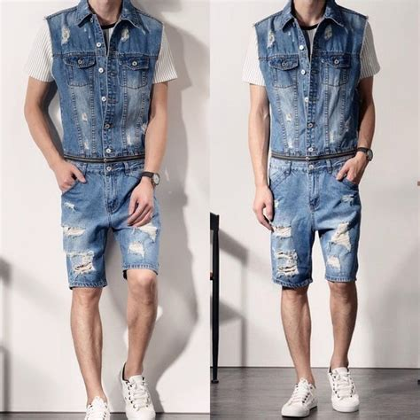 Ripped Denim Overall Shorts mens denim ripped overalls vests rompers detachable jumpsuits ebay