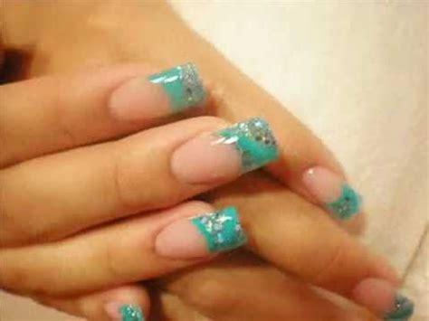 imagenes de uñas de acrilico color turquesa little blue prom nails espa 241 ol youtube