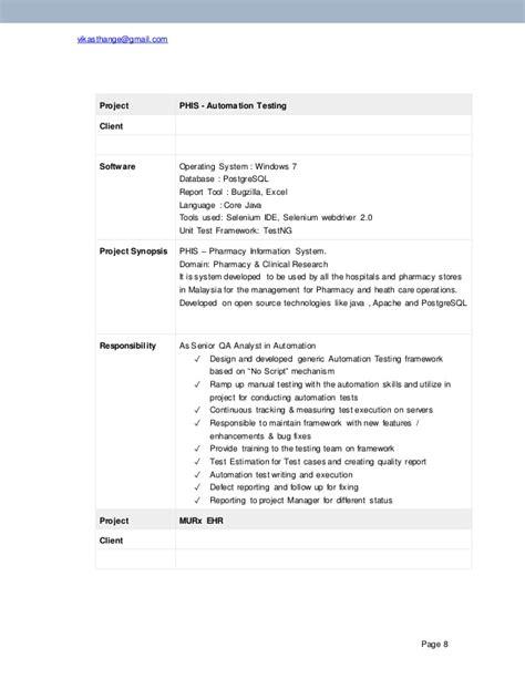 selenium automation testing resume sle manual with selenium web appium mobile automation tester resume