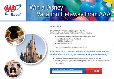 Aaa Sweepstakes - aaa s sweepstakes could send you to disney resorts in california or florida