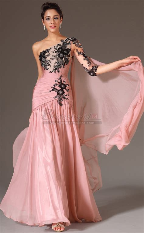 J As 01 Pink pearl pink chiffon one shoulder mermaid bridesmaid