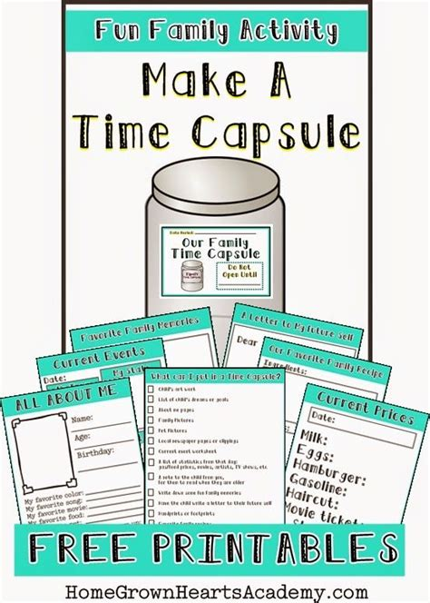 printable games about family free make a time capsule printables free family