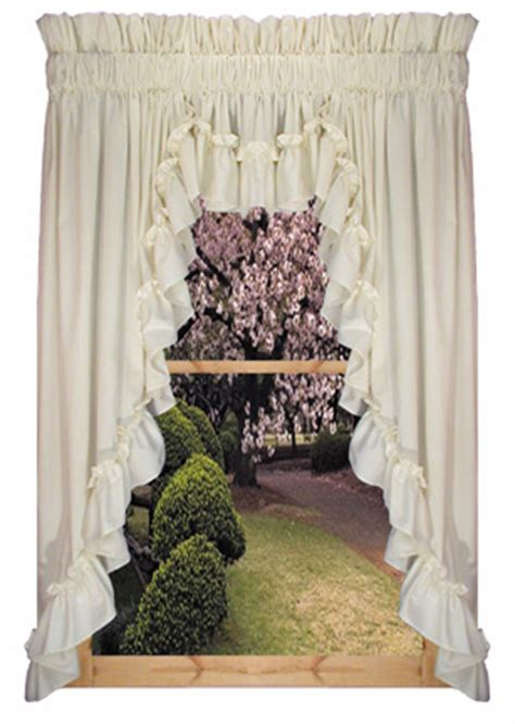 swag country curtains stephanie country ruffled 3pc swag curtain valance
