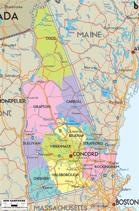 map new hshire and maine images detailed political map of new hshire ezilon maps
