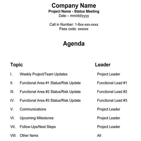 free team meeting agenda template for managers project teams