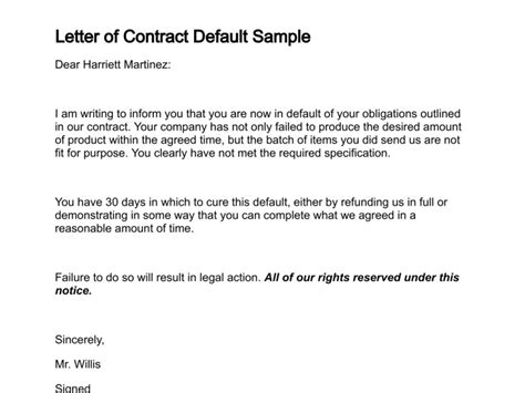 Agreement Default Letter Notice Of Default Letter Sle Free Printable Documents