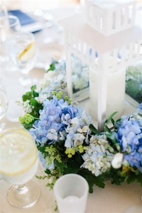 and white table centerpieces white lantern with hydrangea wedding table centerpiece