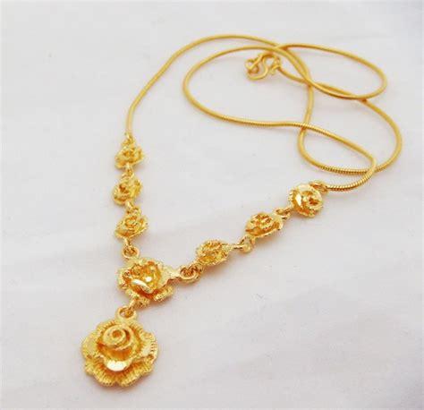 flower 22k 23k 24k thai baht yellow gp gold necklace
