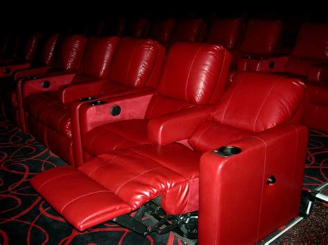 recliner movie chairs red plush recliners at amc theater the dias family