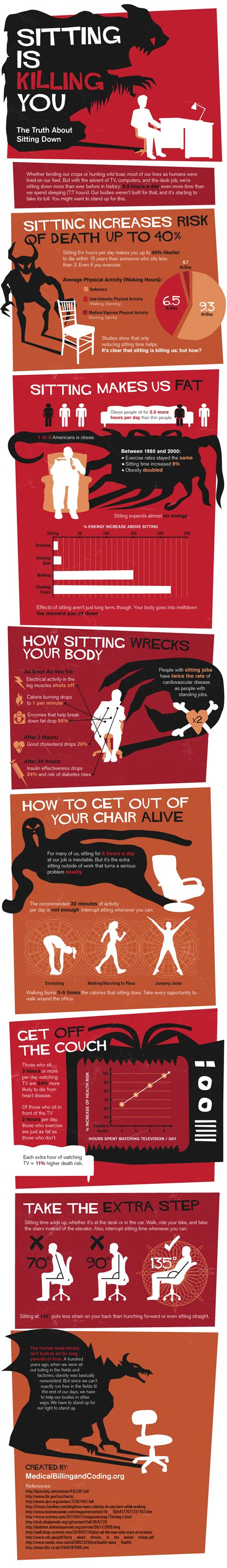 Killing You sitting is killing you daily infographic