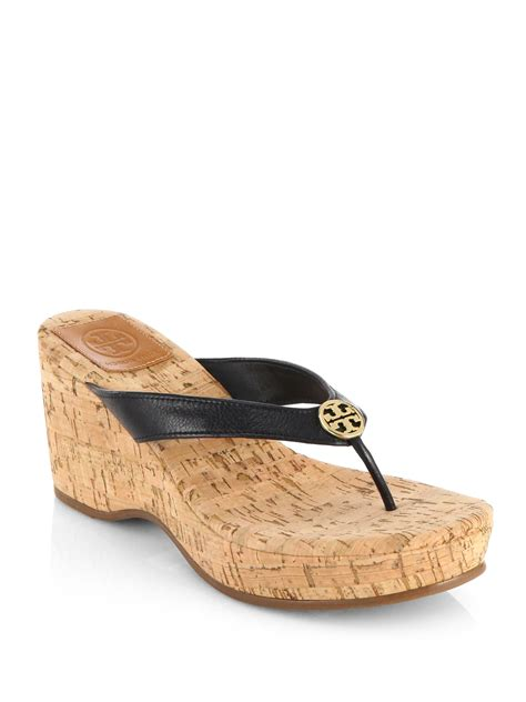 burch suzy leather cork wedge sandals in black lyst