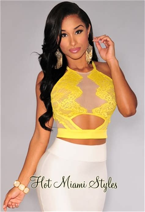 Yellow Mega Mendung Cropped Top yellow lace key back crop top