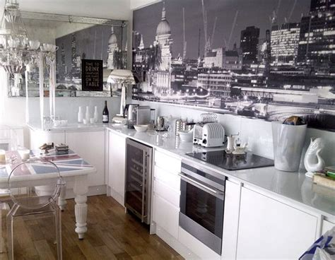 wallpaper for black and white kitchen kitchen with a black and white london mural by murals