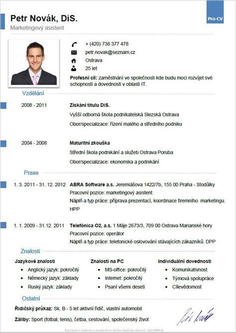 Lebenslauf Vorlage Neuester Stand pro cv 5 vzor mu緇 v 237 ce informac 237 zde http www pro cv cz produkt pro cv 5 vzor muz vzory