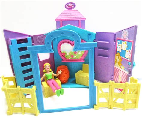 polly pocket dolls house polly pocket horse barn stable farm corral house play set fence furniture doll