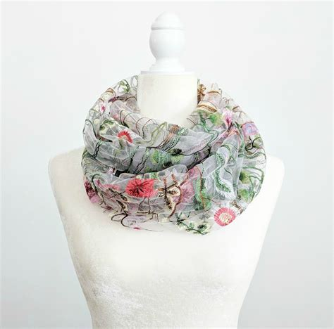 Floral Embroidered Scarf floral embroidered infinity scarf